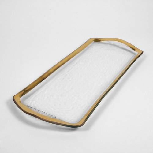 Annieglass Glass Pastry Tray Roman Antique With Gold Trim