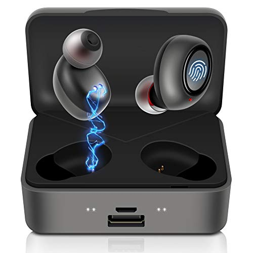 Bluetooth Wireless Earbuds, CRSCN 130H Cyclic Playtime IPX7 Waterproof Sport Wireless Earphones with 2500mAh Charging Case TWS 5.0 Bluetooth Earphones Volume Control in Ear Headphones with Mic