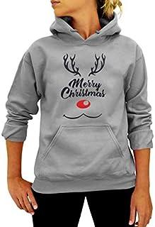 SDJYH Disfraces de Navidad Sudaderas con Capucha Estampadas Tallas Grandes Tops de Manga Larga para Mujer Otoño Invierno S...