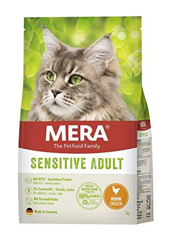 MERA Cats Sensitive Adult Huhn, Trockenfutter für Sensible Katzen, getreidefrei & nachhaltig, Katzentrockenfutter mit hohem Fleischanteil, 2 kg