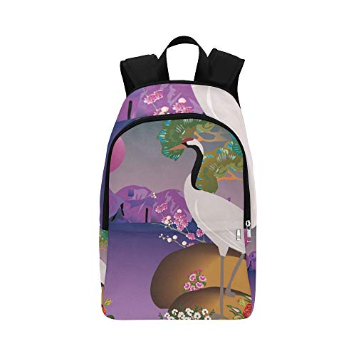 YPink Crane in Spring Landscape Japanese Style Casual Daypack Travel Bag College School Backpack for Mens and Women