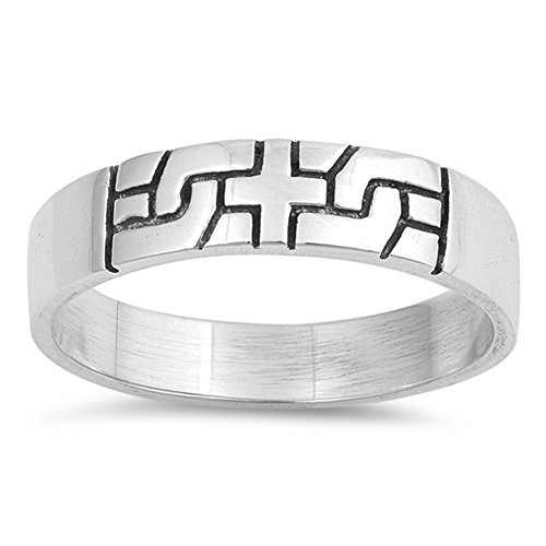 Cross Celtic Puzzle Etched Knot Ring New .925 Sterling Silver Band Size 6