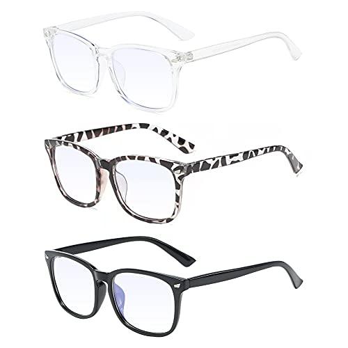 Gafas luz azul, Gafas De luz azul, Gafas de bloqueo de luz azul, Gafas de lectura, Gafas de filtro azul, Gafas de radiación pueden filtrar la luz azul para aliviar la fatiga ocular, Unisex - 3 piezas