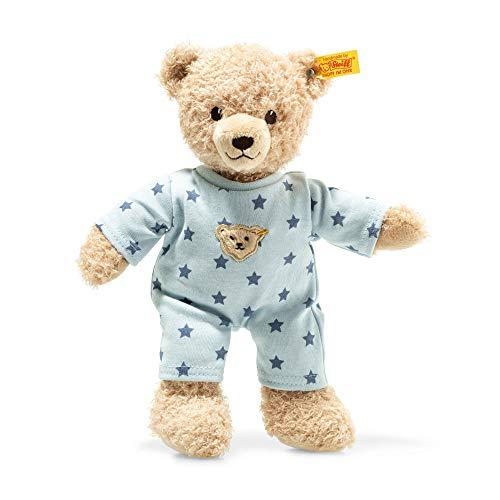 STEIFF Teddy and Me Teddybär Junge Baby mit Schlafanzug - 25 cm - Teddybär mit blauem Schlafanzug - Kuscheltier für Babys - weich & waschbar - beige/blau (241642)