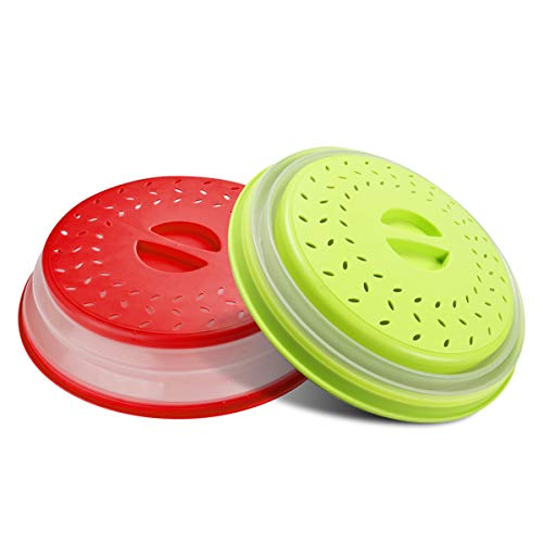 """TGOOD 2 PCS Vented Collapsible Microwave Splatter Proof Food Plate Cover with Easy Grip Handle, Dishwasher-Safe Microwave Splatter Lid Guard with Steam Vents, BPA-Free Silicone & Plastic, 10.5"""" Round"""