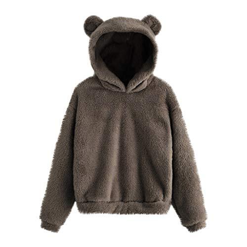 FMYONF Sudadera con capucha para mujer con forma de oso, de forro polar, para otoño e invierno, de manga larga, monocolor, informal, Kawaii con capucha, para niñas (A-gris, M)