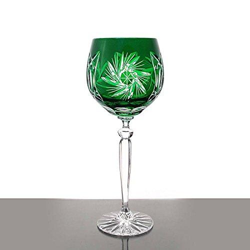 Weinglas Weinkelch Römer Glas Schleuderstern 250 ml Grün Handgeschliffen Kristallglas
