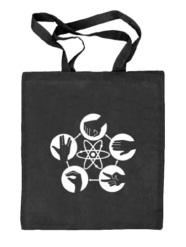 Shirtstreet24, Atom - Stein Schere Papier, Stoffbeutel Jute Tasche (ONE SIZE), Größe: onesize,schwarz natur