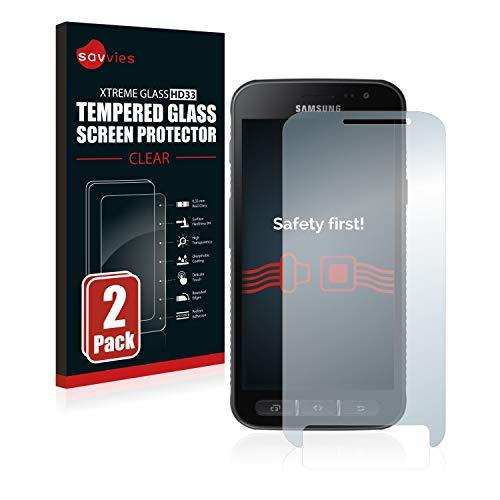 Savvies Panzerglas kompatibel mit Samsung Galaxy Xcover 4 / 4s (2 Stück) - Echt-Glas, 9H Festigkeit, Anti-Fingerprint