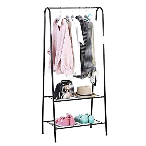 Youyijia Clothes Rack Clothes Storage Shelfs Rail Rack Garment Dress Hanging Display Shoes Stand (Pink) (Black)