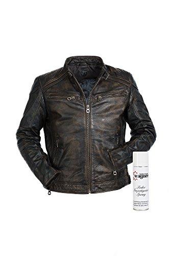 Super modische Lederjacke mit tollem schwarzem Vintage Look Trendmodell vom Lifestylelabel Gipsy mit großem Leder Wagner Imprägnierspray