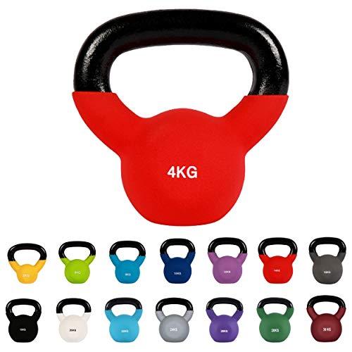 MSPORTS Kettlebell Neopren 2 – 30 kg inkl. Übungsposter (4 Kg - Rot) Kugelhantel