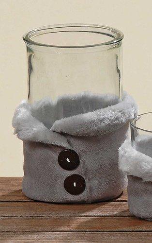 Windlicht Rund Sparkle Glas & Fell Deko-Windlicht Teelichthalter H 16 cm
