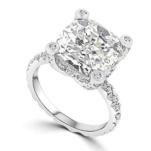 FEIDAL Feidajdzf Lady creative quadrato strass matrimonio anello promessa Engagament party Jewelry, Silver, 8 US