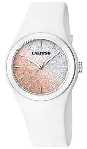Calypso K5754/1 K5754 - Reloj de pulsera analógico para mujer (plástico y poliuretano), color blanco