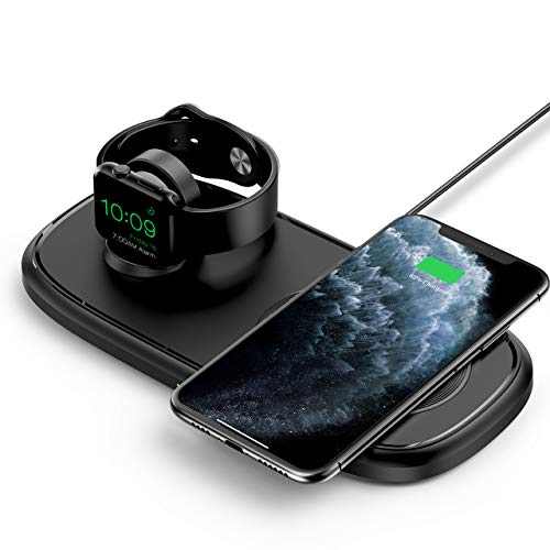 Seneo Cargador Inalámbrico 2 en 1, Plataforma de Carga Inalámbrica Doble, es Adecuado para iWatch 6/5/4/3/2, También se Puede Usar para una Carga Rápida de 7.5W del iPhone 12/SE 2/11/11 Pro MAX/XR/XS