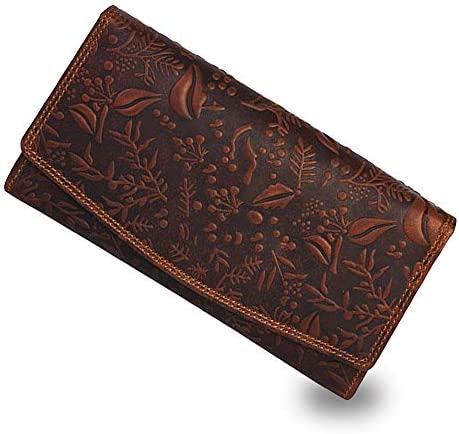 RFID Flower embossed Leather Wallet for Women Multi Credit Card Slots Mobile case Coin Purse product image
