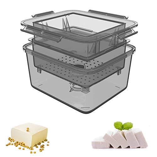 Tofu Press, Tofu Press Maker Tofu Presser Drainer Gadget, BPA Free Tofu Presser Built-in Drainage to Avoid Messes (Grey) (Please watch the video first to use the tofu press)