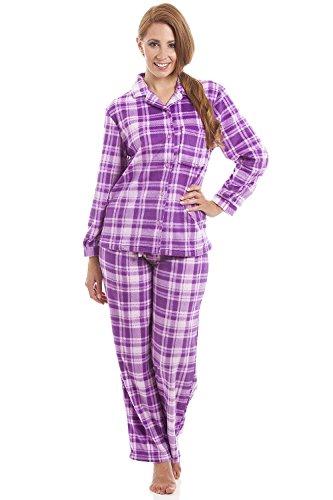 Pijama Largo con Cierre Frontal Abotonado - Franela - Estampado a Cuadros - Morado y Rosa