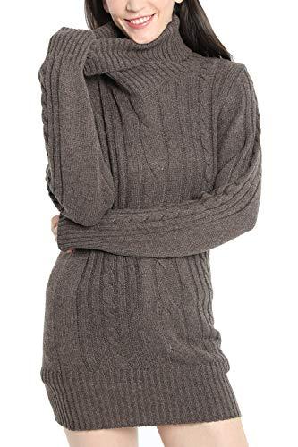 LinyXin Cashmere Damen Winter Kaschmir Langarm Rollkragen Pullover aus Wolle Kleid Gestrickter Sweater Pullover Kleid (L / 42-44, Braun)