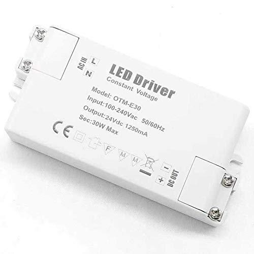 REYLAX® 2pcs 24V 30W 1250mA Driver LED, Transformador de Conmutación de CA a CC, Fuente de Alimentación de Voltaje Constante, Transformador de Bajo Voltaje para Aplicaciones LED