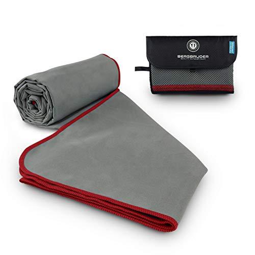 BERGBRUDER Microfaser Handtücher - Ultraleicht, kompakt & schnelltrocknend - Mikrofaser Handtuch, Reisehandtuch, Sporthandtuch (Grau-Rot, M 120x60 cm)