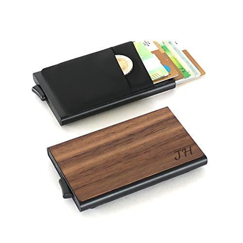 Kreditkartenetui aus Holz personalisiert mit Gravur   Slim Wallet   Geldfach   Scheinfach   Kreditkartenhalter   RFID NFC Schutz   Geschenk Männer Frauen Papa Mama