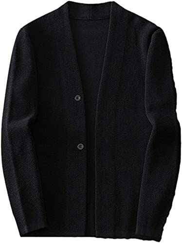 Reteone Men's Shawl Collar Cardigan Single-Breasted Knitted Jacket Solid Color Autumn
