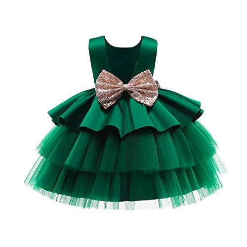 TTYAOVO Niña Tul Fiesta de Cumpleaños Princesa Tutú Lentejuelas Arco Vestido de Baile Talla (100) 2-3 años 730 Verde