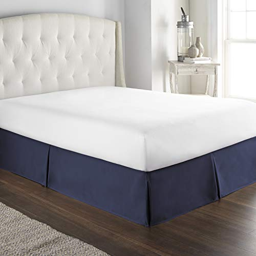 Hotel Luxury Bed Skirt Dust Ruffle 1800 Platinum Collection 14 inch Tailored Drop, Wrinkle & Fade Resistant (Queen, Navy)
