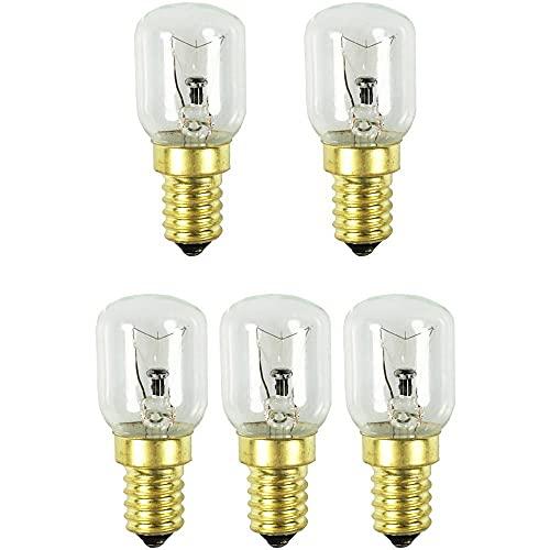 COM-FOUR® Lampe de four 5x jusqu'à 300 ° C, ampoule de cuisinière blanc chaud 25W, E14, 230V (05 pièces - 25W couleur or)