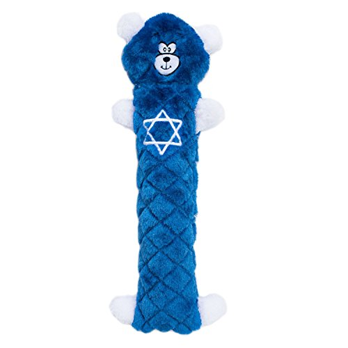 ZippyPaws - Jigglerz Holiday Tough No Stuffing Squeaky Plush Dog Toy with Crinkle Head and Tail - Hanukkah Blue Bear