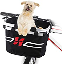 Lixada Bike Basket, Small Pet Cat Dog Carrier Bicycle Handlebar Front Basket - Folding Detachable Removable Easy Install Quick Released Picnic Shopping Bag