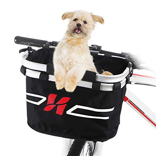 Lixada Bicycle Basket Bike Front Basket Folding Detachable Cycling Bag- Perfect Removable Pet Cat Dog Carrier Basket Shopping Commuting (Style 1)