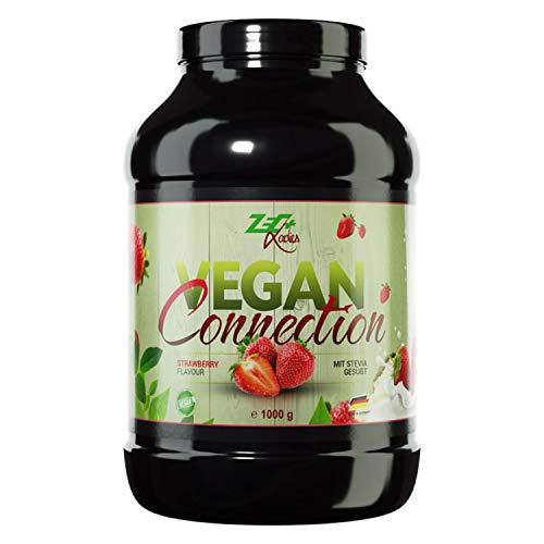 Zec+ Ladies Vegan Connection - Erdbeere, 1000 g veganes Proteinpulver für Frauen als Eiweiß-Shake für Fitness & Sport, enthält Reisprotein und Sojaprotein-Isolat, Made in Germany