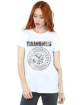 Ramones Women s Distressed Black Seal Boyfriend Fit T-Shirt White Large