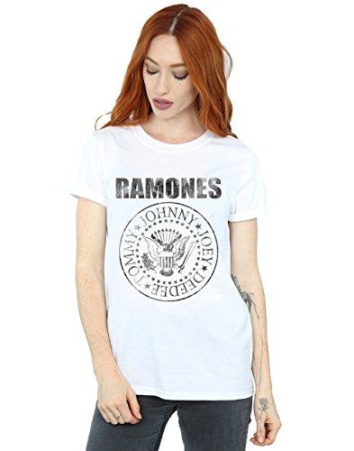 Ramones Mujer Distressed Black Seal Camiseta del Novio Fit Blanco Small