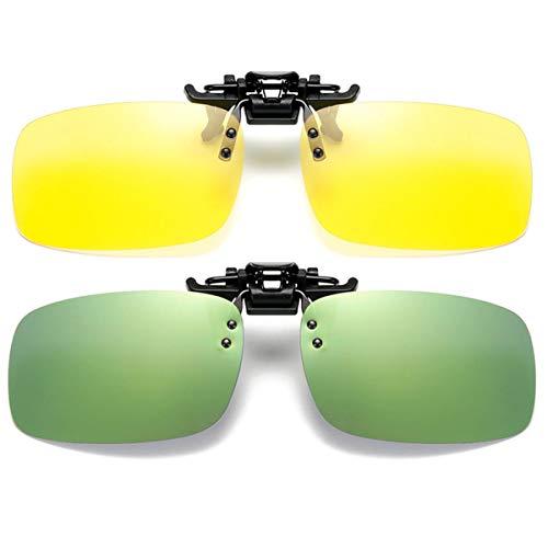 2 Paar Sonnenbrille Clip auf Flip Up Night Vision Gläser Blendschutz polarisierte für Männer Frauen UV400 Beste für Driving Golf Schießen Angeln Jagd Outdoor Sports - gelber+grün Spiegel