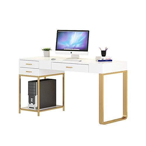 AJH Computer-Schreibtisch Home Office Moderner Metall-Computer-Schreibtisch und langlebiges Massivholz-Schreiben Schreibtisch DREI Schubladen Home Office