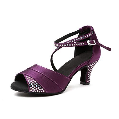 iCKER Women's Latin Dance Shoes Rhinestone Satin Ballroom Salsa Tango Performance Shoes 2.4'' Heel LA04 Purple 7