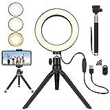 ledリングライト 8in 撮影照明 ビデオライト 3色 11段階調光 スマホスタンド/自撮り棒付き 化粧/写真/YouTube生放送/カメラ撮影用