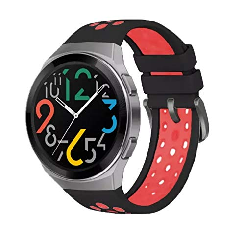 Dado Soft silicone Band with black buckle for HUAWEI WATCH GT2e Special Straps Watchband GT2E (Black Red)