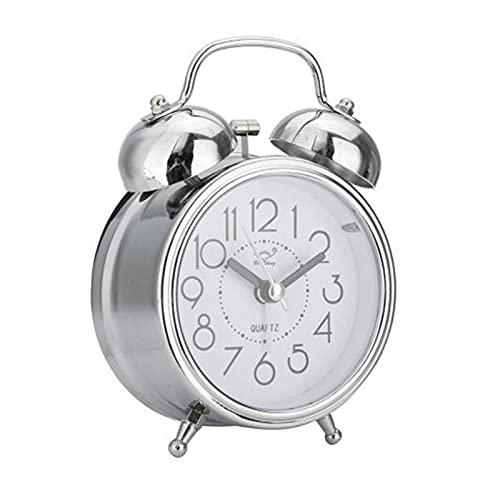 YGUIYONG Reloj Despertador Vintage Retro Despertador Reloj de Puntero silencioso Relojes Redondo número Dual Campana Fuerte Despertador Reloj Noche luz de Noche decoración del hogar (Color : Silver)