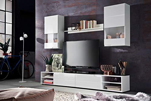 trendteam Wohnzimmer Anbauwand Wohnwand Clark, 240 x 179 x 40 cm in Weiß Hochglanz mit viel Stauraum
