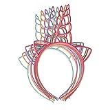 Ouken Paquete de 12 Vendas plásticas del Unicornio para Las Muchachas Adolescentes niños pequeños Diadema del Partido (Color Ligero)