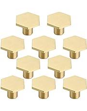 Massief messing zeshoek knopen/kristallen deurknoppen met schroef voor kast, bureau, lade, dressoir lade, goud