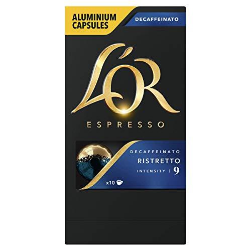 L'OR Espresso Café Ristretto Decaffeinato Intensidad 9 – Cápsulas de Aluminio Compatibles con Máquinas Nespresso (R)* - 10 paquetes de 10 cápsulas (100 bebidas)