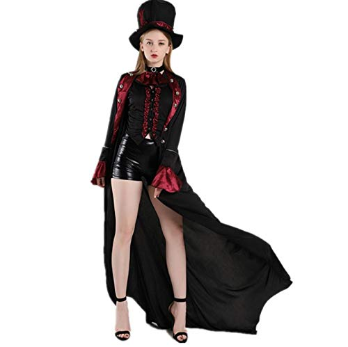 ZYJP - Disfraz de bruja de demonio de vampiro para mujer, disfraz de hechicera maga, cosplay, carnaval, disfraces, vestido de fiesta de disfraces, poliéster, negro, extra-large