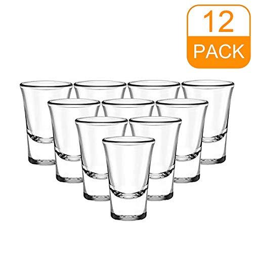 Funey Schnapsgläser, Pinnchen Stamper aus Glas mit dickem Boden, 4 cl, für Liköre, Kaffee, Karneval, spülmaschinenfest, transparent, für Vodka Tequila Baijiu (12er set)