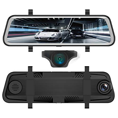 RED WOLF Dashcam Spiegel mit Auto Rückfahrkamera Autokamera Einparkhilfe 1080P Touch Screen Rückspiegel Vorne Hinten Full HD 9,66 Zoll GPS Tracking WDR LDWS Dual Dash Cam